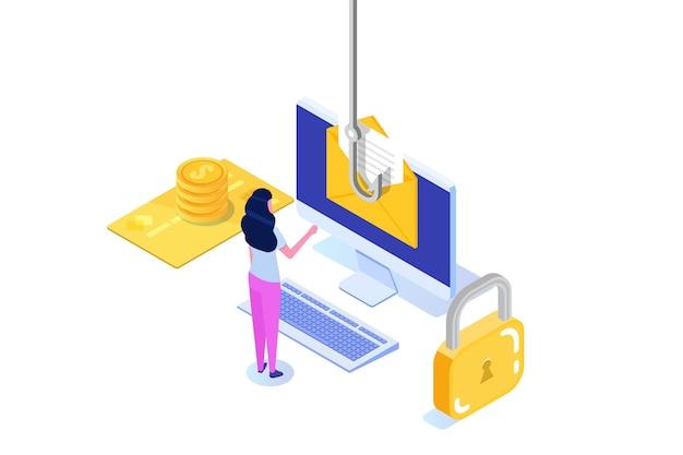 Dati phishing isometrico, hacking truffa online sul concetto di desktop. pesca tramite e-mail. ladro informatico.