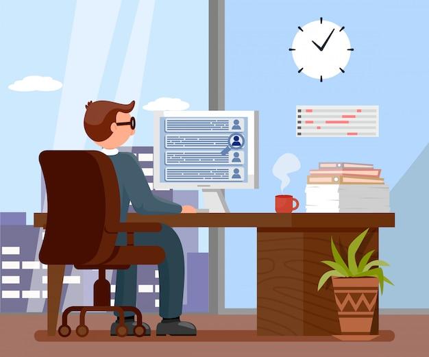 Datore di lavoro nell'illustrazione di vettore del fumetto dell'ufficio