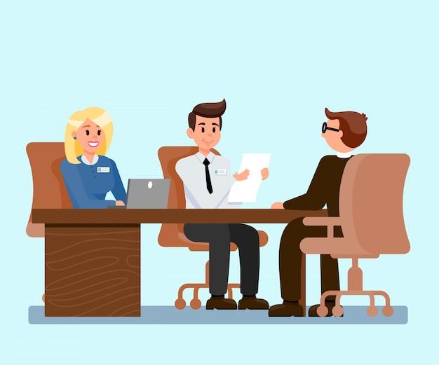 Datori di lavoro che intervistano l'illustrazione del richiedente