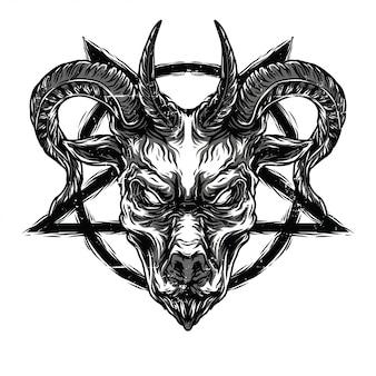 Death goat black n white