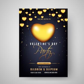 Decorat di progettazione di carta dell'invito di celebrazione del partito di san valentino