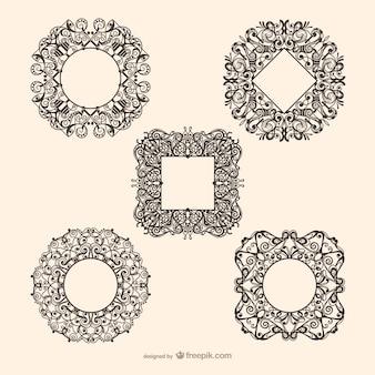 Decorativa cerchio e vettori quadro quadrati