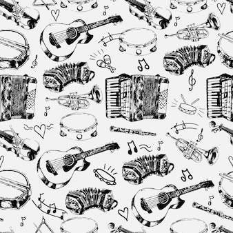 Decorativi musicali negozio di carta da imballaggio modello senza saldatura con stringhe classiche percussioni jazz strumenti doodle schizzi illustrazione vettoriale