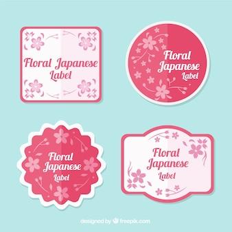Decorativi rosa etichette giapponesi floreali