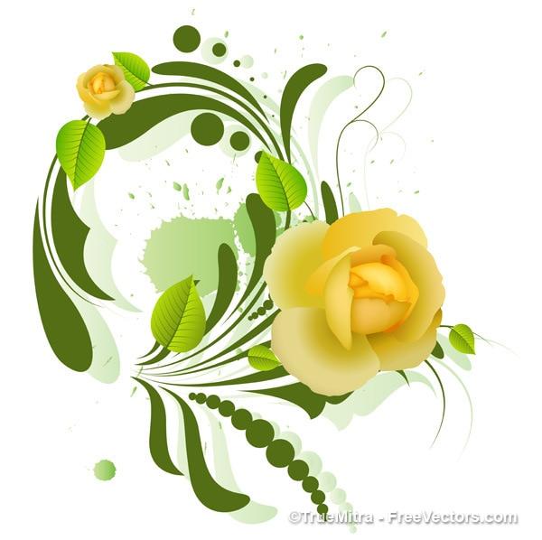 Decorativo fiore giallo disegno di sfondo
