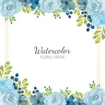Decorazione cornice floreale blu dell'acquerello