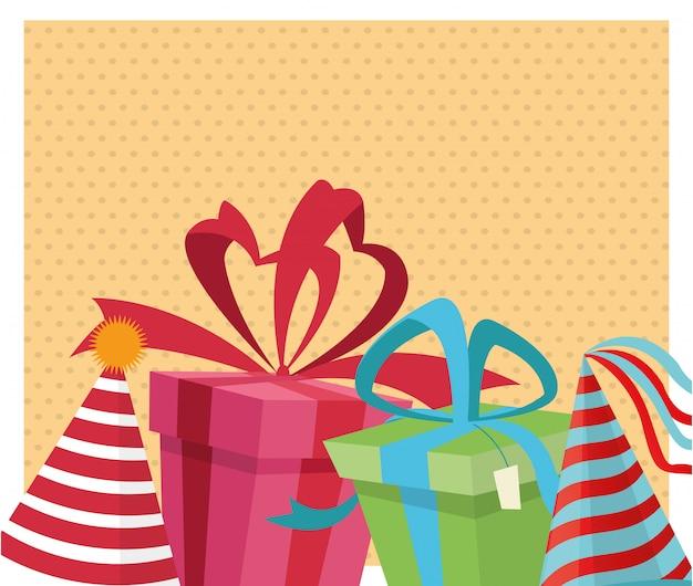 Decorazione dei cappelli dei contenitori di regalo della festa di celebrazione di buon compleanno
