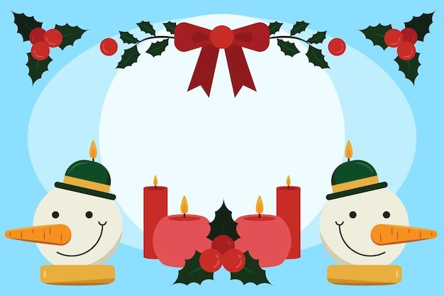 Decorazione del fronte e delle candele del pupazzo di neve per l'evento di natale