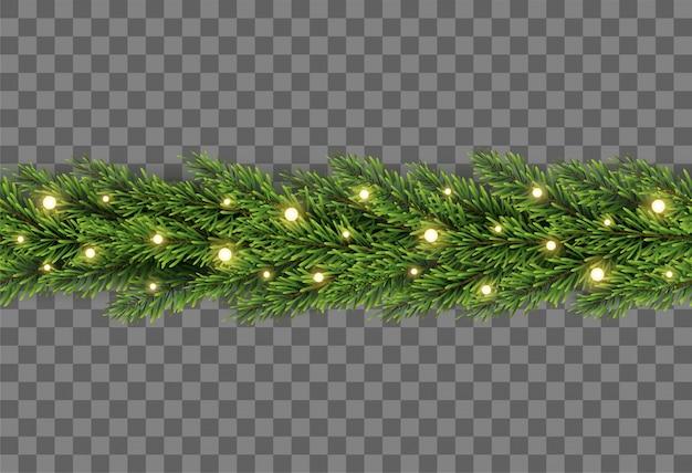 Decorazione dell'albero di natale con i rami e le luci dell'abete su fondo trasparente