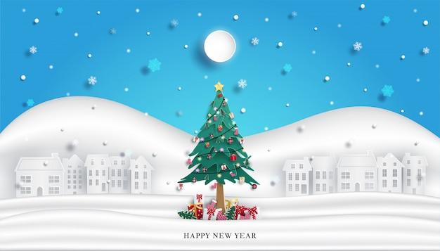 Decorazione dell'albero di natale per la celebrazione e contenitore di regalo e fondo urbano della campagna della neve di inverno