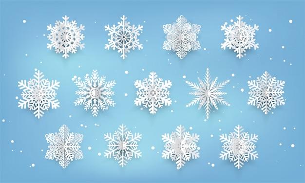 Decorazione della cartolina di natale fiocco di neve tagliato carta.