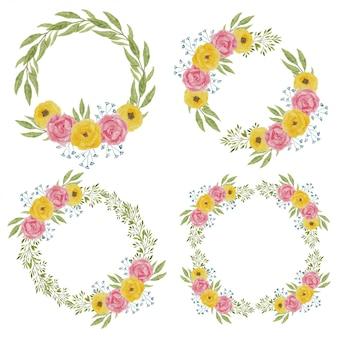 Decorazione della corona di fiori di peonia dell'acquerello