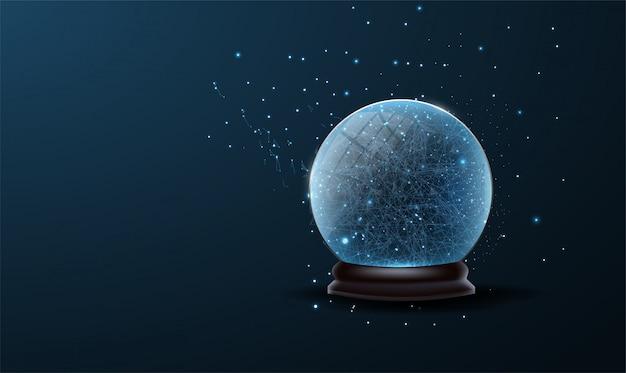 Decorazione della palla dell'albero di natale in basso poli. globo di neve di natale isolato su sfondo blu.