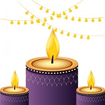 Decorazione di candele indiane