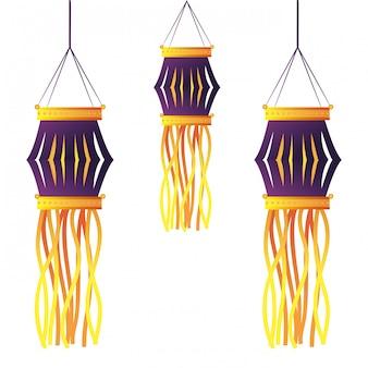 Decorazione di candele lanterne indiane