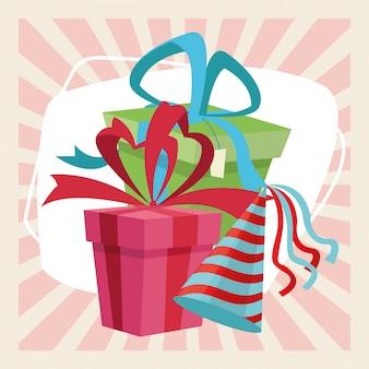 Decorazione di evento del cappello dei contenitori di regalo della festa di celebrazione di buon compleanno