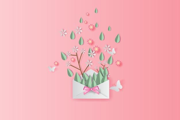 Decorazione di foglie e fiori primaverili