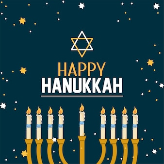 Decorazione di hanukkah felice con stella di david