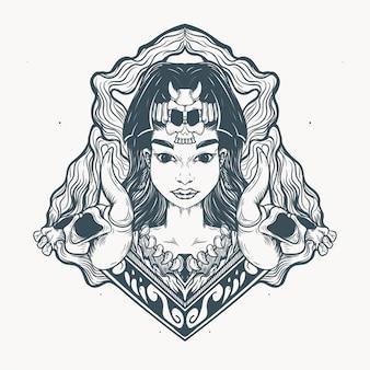 Decorazione etnica ragazza e teschio
