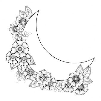 Decorazione floreale mehndi in stile etnico orientale, indiano. ornamento di doodle. contorno disegnare illustrazione a mano.
