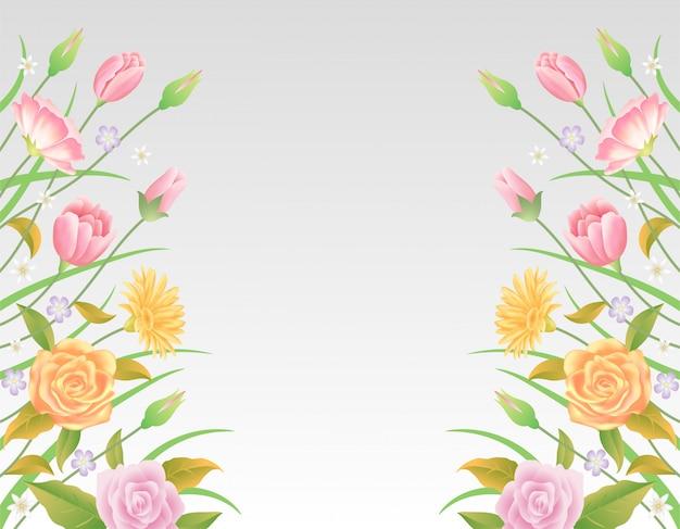 Decorazione floreale variopinta e bella floreale del modello delle foglie e dei fiori.