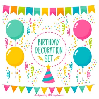 Decorazione insieme variopinto di compleanno