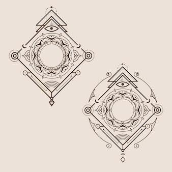 Decorazione logo geometria vintage