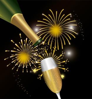 Decorazione notturna di fuochi d'artificio con bicchiere di champagne