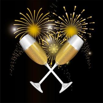 Decorazione pirotecnica di notte con bicchiere di champagne