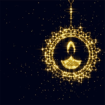 Decorazione scintillante di diwali diya sul nero