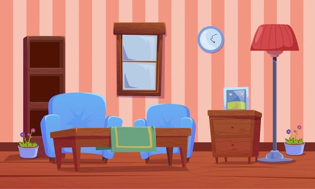 Decorazione soggiorno con design piatto