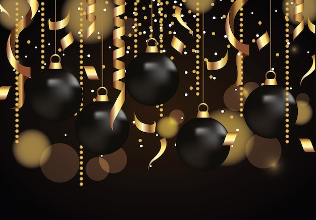 Decorazioni dorate con le palle di natale della celebrazione