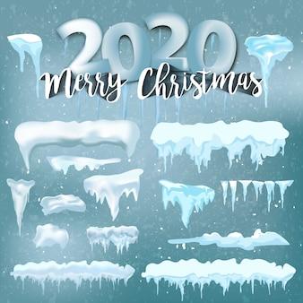 Decorazioni invernali, natale, struttura della neve, neve bianca di vettore di festa degli elementi
