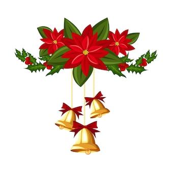 Decorazioni natalizie con campane d'oro, agrifoglio e poinsettia.