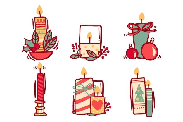 Decorazioni natalizie con candele e nastri