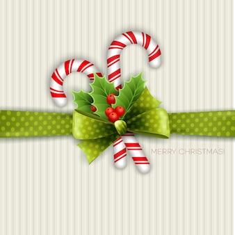 Decorazioni natalizie con foglie di agrifoglio