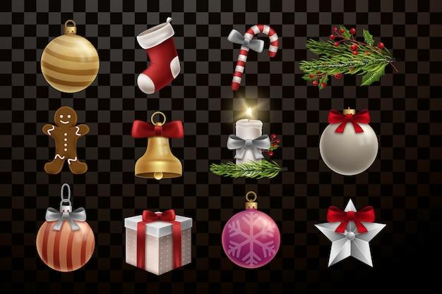 Decorazioni natalizie e collezione di elementi