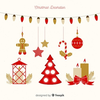 Decorazioni natalizie in design piatto