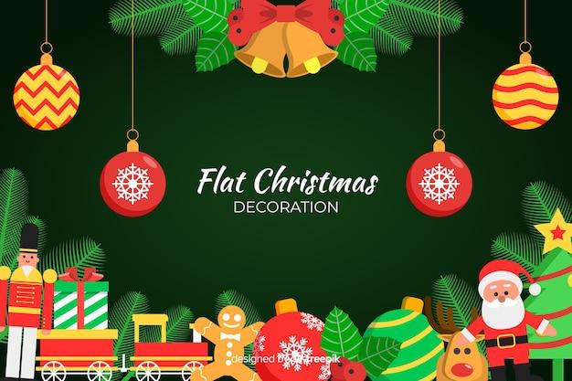 Decorazioni natalizie piatte con design piatto