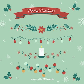 Decorazioni natalizie piatte con nastri e ghirlande