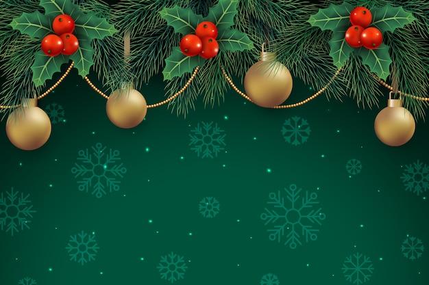 Decorazioni natalizie su sfondo verde con fiocchi di neve