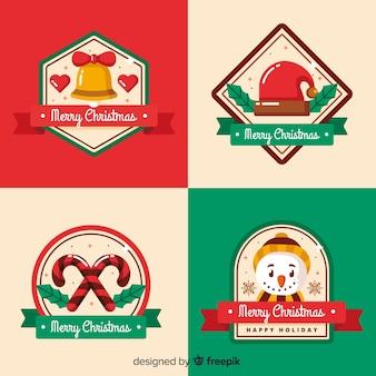 Decorazioni natalizie sulla collezione di etichette e badge