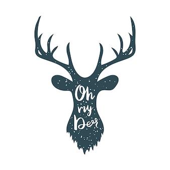 Deer silhouette e lettering oh my deer.