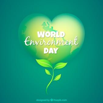 Del mondo di fondo ambiente giorno a forma di cuore