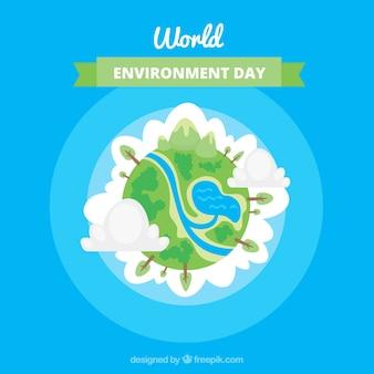Del mondo di fondo ambiente giorno con disegno globo