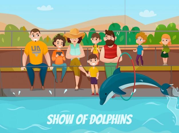 Delfinario e illustrazione famiglia