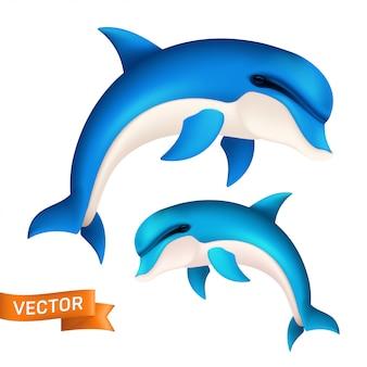 Delfino blu realistico in movimento. illustrazione di cute saltando pesce di mare o nuoto acquatico mammifero isolato su sfondo bianco
