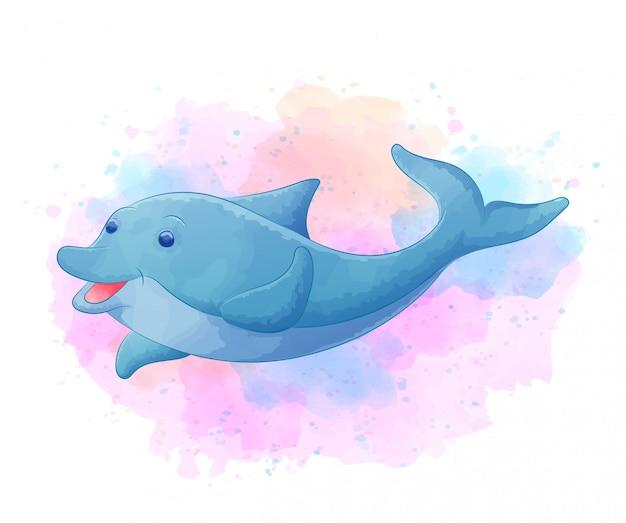 Delfino carino con acquerello