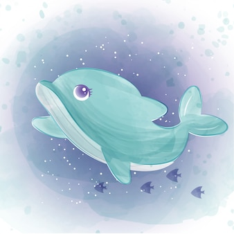 Delfino carino nell'oceano. stile colore dell'acqua.