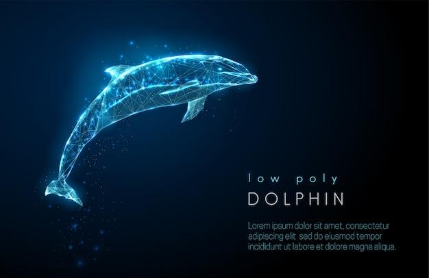 Delfino che salta astratto. design in stile poli basso.
